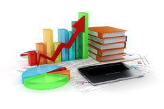 3d laptop and business elements Stock Photo
