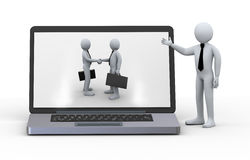 3d laptop business partnership. 3d illustration of businessman presentation of laptop with business partner handshake on screen Stock Photo