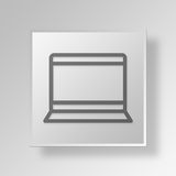 3D Laptop Button Icon Concept. 3D Symbol Gray Square Laptop Button Icon Concept Royalty Free Stock Photos