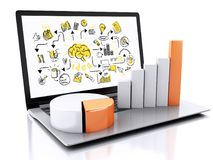 3d Laptop with charts and graph. Business success concept. Isola. 3d illustration render. Laptop with charts and graph. Business success concept. Isolated on Stock Photo