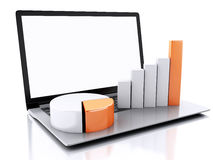 3d Laptop with charts and graph. Business success concept. Isola Royalty Free Stock Photos