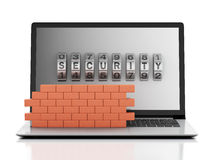 3d Laptop with combination Lock and brick wall. Firewall concept. 3d renderer image. Laptop with combination Lock and brick wall. Firewall concept.  white Stock Image