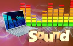 3d laptop computer audiospectrum Stock Afbeeldingen