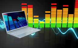 3d laptop computer audiospectrum Royalty-vrije Stock Fotografie