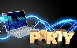 3d laptop computer blank. 3d illustration of laptop computer over sound wave black background with party sign Royalty Free Stock Photography