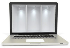 3d laptop computer with empty display Royalty Free Stock Image