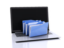 3d laptop and computer files on white background Stock Photos
