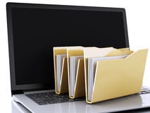 3d laptop and computer files on white background stock illustration