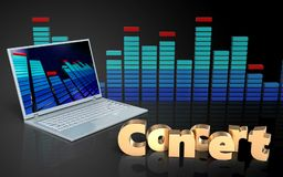3d Laptop-Computer Konzertzeichen Lizenzfreie Stockfotografie