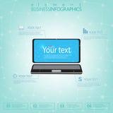 3d Laptop-Computer mit Platz für Ihren Text Kann für Webdesign, Diagramm, charnumber Wahlen und für Arbeitsflussplan verwendet we Lizenzfreie Stockbilder