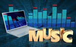 3d Laptop-Computer Musikzeichen Lizenzfreie Stockfotografie
