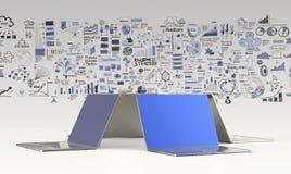 3d Laptop-Computer und Hand gezeichnetes Geschäft Lizenzfreie Stockbilder
