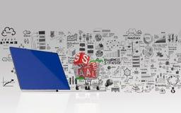 3d Laptop-Computer und Hand gezeichnetes Geschäft stellen grafisch dar Stockfoto