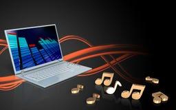 3d laptop computernota's Stock Foto