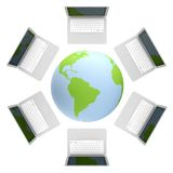 3d render of laptop Connected To The World Wide We Stock Photo