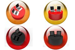 3D laptop on disk concept icon Stock Photo