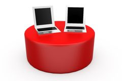 3d laptop on disk concept Royalty Free Stock Photography