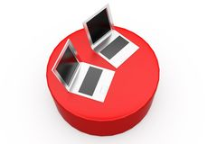 3d laptop on disk concept Royalty Free Stock Photos