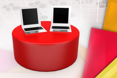 3d laptop on disk illustration Royalty Free Stock Photography