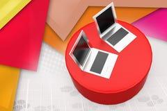 3d laptop on disk illustration Royalty Free Stock Images