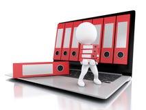 3d Laptop en dossiers Geïsoleerde witte achtergrond Stock Foto