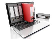 3d Laptop en dossiers Witte achtergrond Royalty-vrije Stock Afbeelding