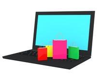 3d laptop en het winkelen zakken Royalty-vrije Stock Afbeeldingen