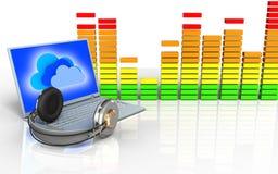 3d laptop en hoofdtelefoons audiospectrum Stock Foto's