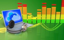 3d laptop en hoofdtelefoons audiospectrum Royalty-vrije Stock Afbeelding