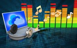 3d laptop en hoofdtelefoons audiospectrum Stock Foto