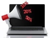 3d Laptop en Megafoon Het concept van de korting Royalty-vrije Stock Foto's