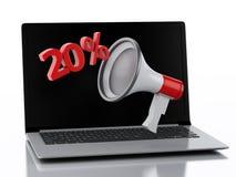 3d Laptop en Megafoon Het concept van de korting Stock Foto