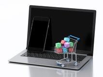 3d Laptop en Smartphone met Apps-pictogrammen in boodschappenwagentje Stock Fotografie