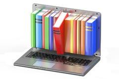 3D Laptop en stapel kleurenboeken Royalty-vrije Stock Afbeeldingen