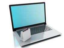 3d Laptop en Witte het Winkelen Zakken Het concept van de elektronische handel Stock Foto's