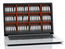 3d Laptop and files. isolated white background Royalty Free Stock Images
