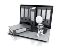 3d Laptop and files. Isolated white background. 3d illustration. White people with office ring binders. Archive concept. Laptop and files on isolated white Royalty Free Stock Images