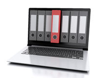 3d Laptop and files.  white background. Image of 3d Archive concept. Laptop and files on  white background Royalty Free Stock Photography