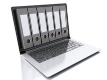 3d Laptop and files.  white background Royalty Free Stock Photography