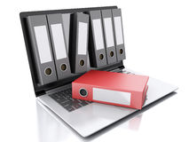 3d Laptop and files.  white background Royalty Free Stock Photos