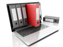 3d Laptop and files.  white background. Image of 3d Archive concept. Laptop and files on  white background Royalty Free Stock Image