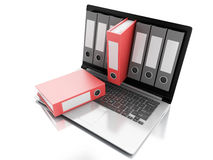 3d Laptop and files.  white background Stock Photos