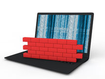 3d laptop firewall concept Royalty Free Stock Image