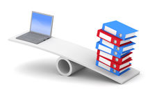 3d Laptop and folders balance Stock Photo