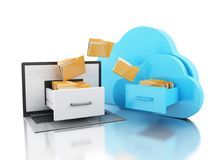 3d Laptop with folders and cloud. Online storage concept. 3d illustration. Laptop with folders and cloud. Transferring information. Online storage concept Royalty Free Stock Photo