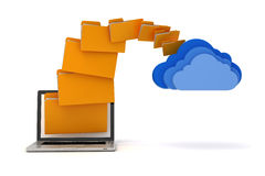 3d laptop folders and cloud server Stock Photo