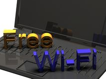 3D Laptop with free WiFi sign Royalty Free Stock Photos