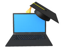 3d laptop and graduation hat Royalty Free Stock Image