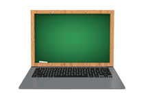 3d laptop with green chalkboard screen Royalty Free Stock Image