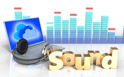 3d laptop and headphones 'sound' sign. 3d illustration of laptop and headphones over white background with 'sound' sign Royalty Free Stock Image